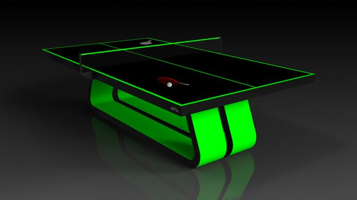 Luge Table Tennis, Neon Green with Black. The Luge table can be customized in your choice of bespoke sizes, colors, and finishes. Upon request, we also offer the option to add slender drawers on each side in order to provide concealed storage for table tennis paddles and ping pong balls.