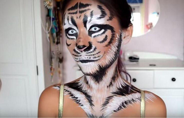 """Heb je nog geen inspiratie voor een originele Halloweenlook? Wat dacht je dan van deze prachtige tijger! Niet meteen héél griezelig, maar schrikken zullen ze zeker! Maak je look extra realistisch door te werken met verschillende borsteltjes. """"Raaaaauuuuwwch!"""""""