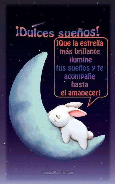 Dulces sueños ~ Imagen con frase ~ Luna y conejo
