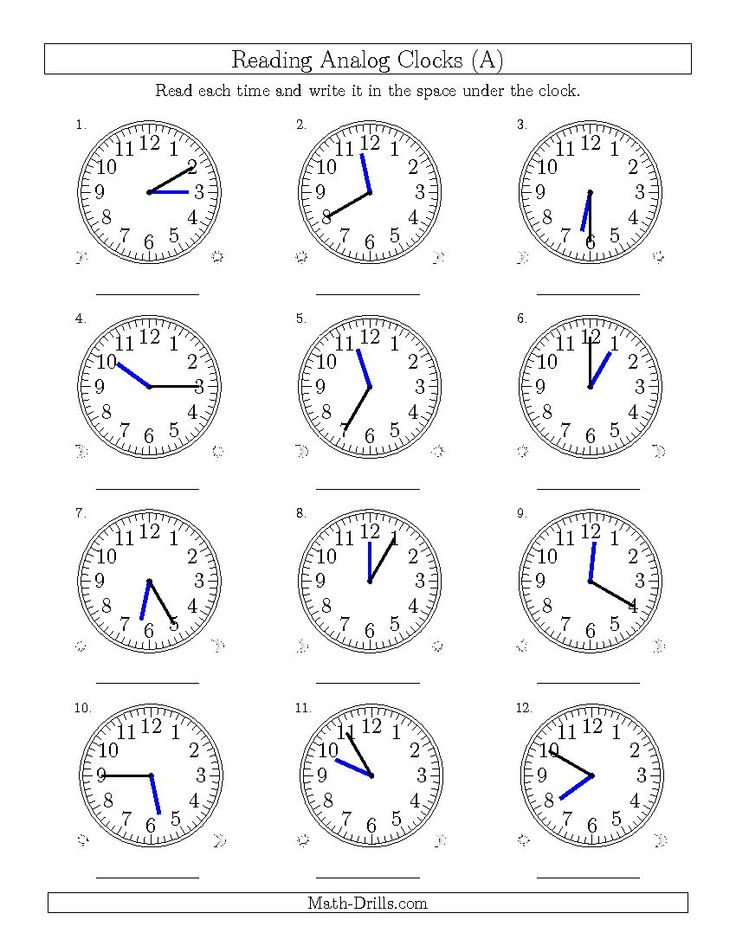 Reading Time on 12 Hour Analog Clocks in 5 Minute