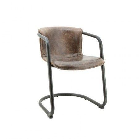 Buisframe stoel van bruin vintage leer