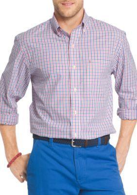 IZOD Rapture Rose Big  Tall Essential Poplin Tattersall Shirt