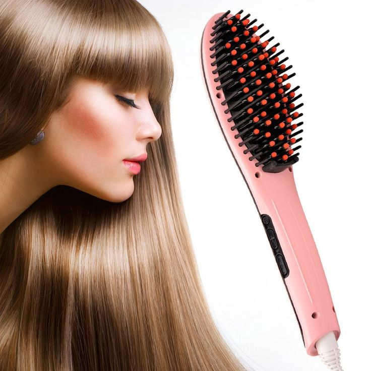 Ckeyin ® Digital Instant Magic Silky Straight Hair Straightener Comb Hair Styling Brush with LCD Display Anti Scald Zero Damage Safe Massage Straightening Iron (US/UK/AU Need Adapter) *** For more information, visit image link.
