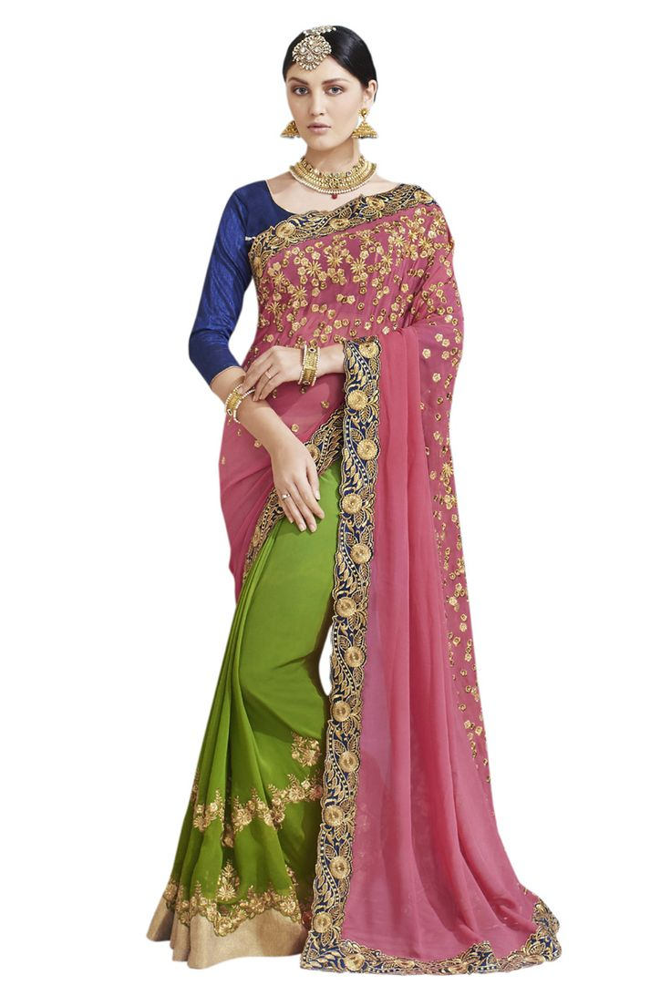 Buy Now Pink-Green Embroidery Work Georgette Half-Half Fancy Saree only at Lalgulal.com. To ‪#‎Order‬ :- http://goo.gl/M8F2AR To Order you Call or ‪#‎Whatsapp‬ us on +91-95121-50402 COD & Free Shipping Available only in India.
