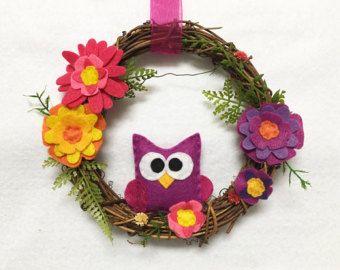 De kroon van de uil, de kroon van de zomer, paars en roze, Grapevine, lente deur hanger, gastvrouw geschenk Housewarming, kunst aan de muur, muur opknoping