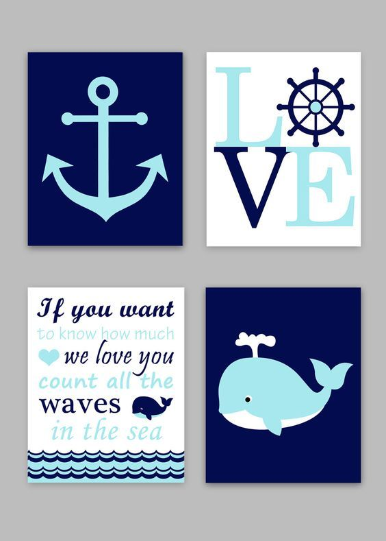 Nautical Nursery, Boy Nautical Room, Baby Boy Ocean Decor, Whale Art, If you want to know, count all the waves, Love Print, Anchor Canvas by SweetPeaNurseryArt on Etsy