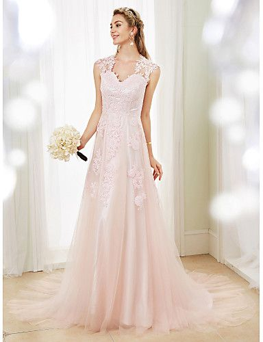 9e0e326115 A-Line V Neck Sweep   Brush Train Lace   Tulle Made-To-Measure Wedding  Dresses with Appliques by LAN TING BRIDE®   Wedding Dress in Color    See-Through ...