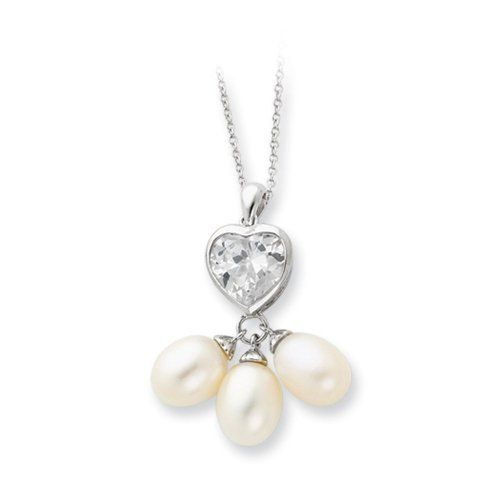 Love Drops Cultured Pearl, Heart Necklace in Silver