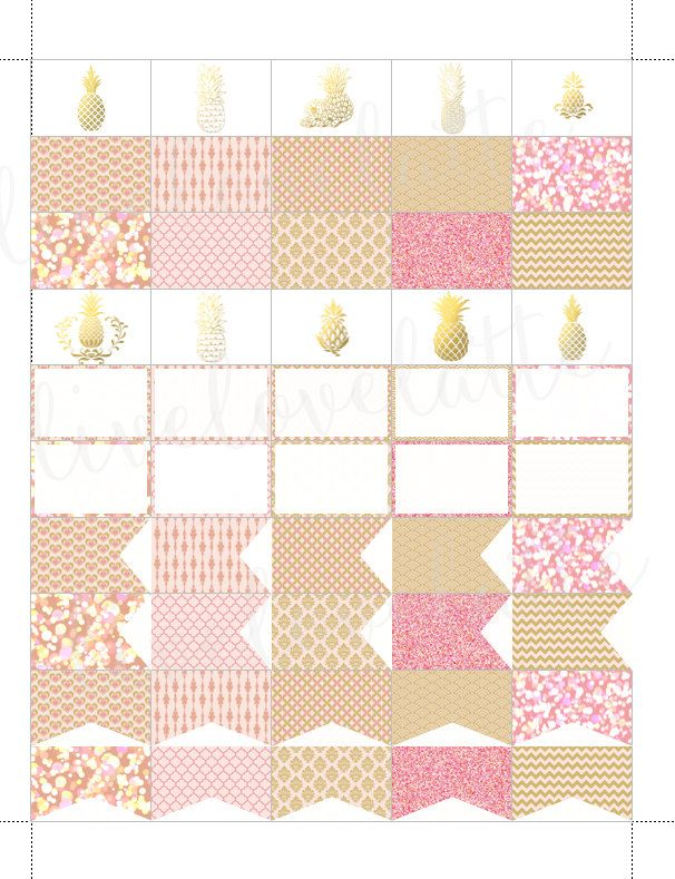 PINK CHAMPAGNE PINEAPPLES Half Box Page Flags Erin Condren (Vertical) Planner Stickers - digital - Instant Download by LiveLoveLatte on Etsy