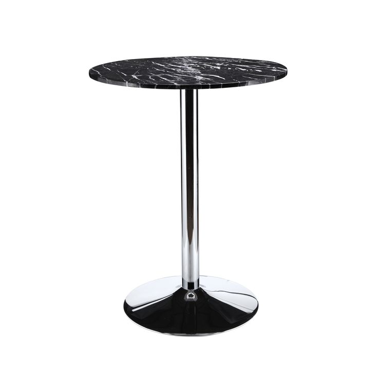 Aurelle Home Black Marble Round Bar Table
