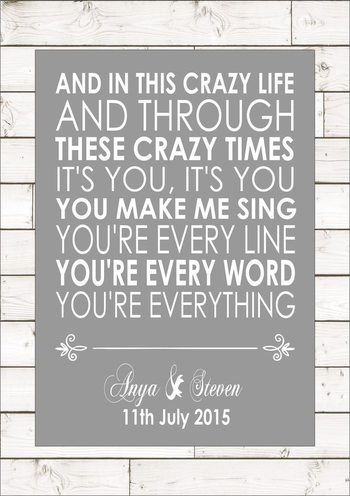 EVERYTHING - MICHAEL BUBLE Wedding Anniversary Personalised First Dance Lyrics in Home, Furniture & DIY, Home Decor, Wall Hangings | eBay