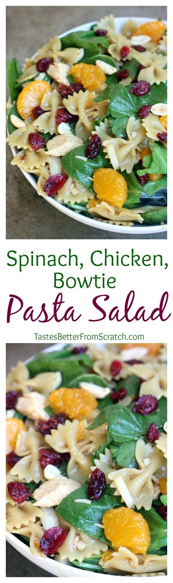 Spinach, Chicken, Bowtie noodle Pasta Salad with a Teriyaki Vinaigrette--my FAVORITE pasta salad!