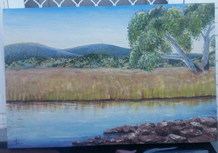 """Shallow creek"" acrylic landscape painting by artist: Lisa Brett @woolybutt.designs"