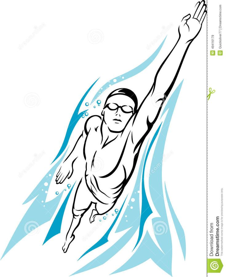 Male Swimmer Freestyle Stock Vector - Image: 49416179