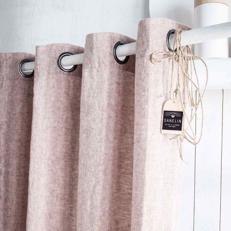 Complétez votre décoration d'intérieur avec ce rideau 100% lin lourd tissé teint chambray marron.