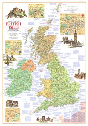 travelers british isles 1974 wall map by national geographic