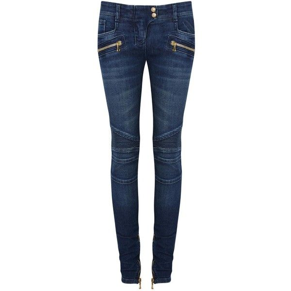 Balmain Dark Blue Skinny Jeans (385 AUD) ❤ liked on Polyvore featuring jeans, pants, balmain, 5 pocket jeans, mid rise jeans, super skinny jeans, skinny jeans and cut skinny jeans