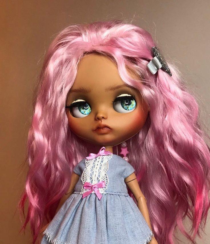 Sold!!! Blythe custom doll. Natural mohair weft