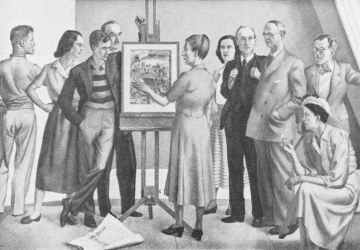 TAR : Regard of Photograph of Bill Sutton's Homage to Frances Hodgkins (destroyed), showing from left: Sutton, Doris Lusk, Colin McCahon, Margaret Frankel (with Pleasure ...