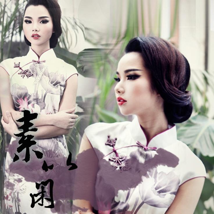 #29 - The mind of a lotus - Read full story: http://www.elegente.com/fashion-white-lotus-printed-qipao-dress.html
