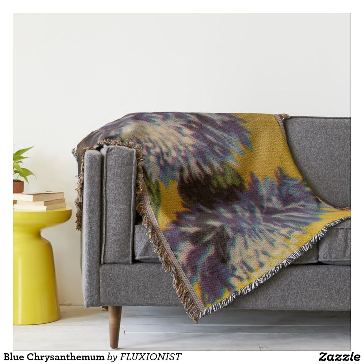 Blue Chrysanthemum Throw - $82.40 Made by Zazzle Home / Design: Fluxionist