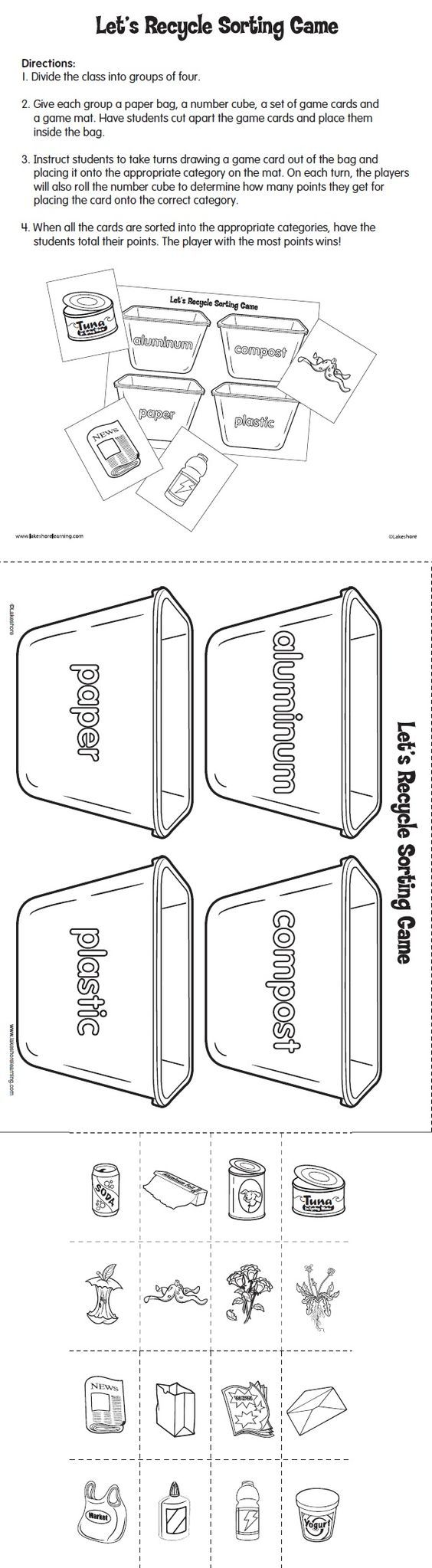 Let's Recycle Sorting Game Printable from Lakeshore Learning: