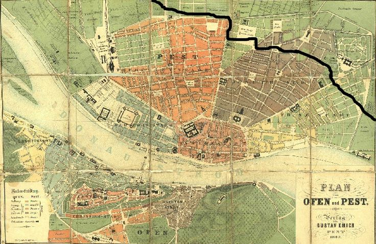 Budapest, 1838. The black line shows the flooded area of the city.
