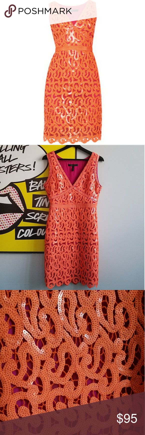 BCBG Max Azria Sequined Gabrielle Cocktail Dress Sparkly, fitted, and bright = your holiday party dress! Bright orange sequins overlaid on a fuschia fabric. Worn twice, in great condition, all sequins intact!! BCBGMaxAzria Dresses Mini