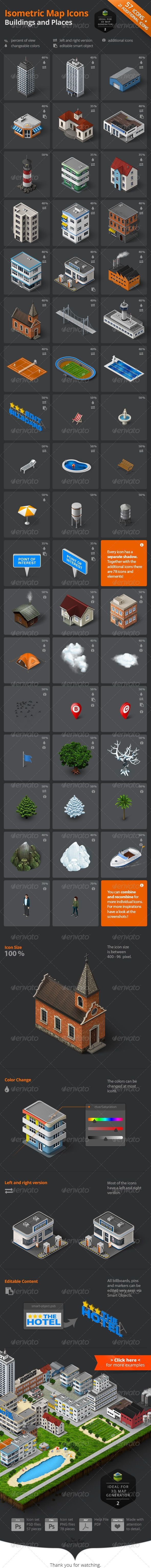 Isometric Map Icons - Buildings and Places | Buy and Download…