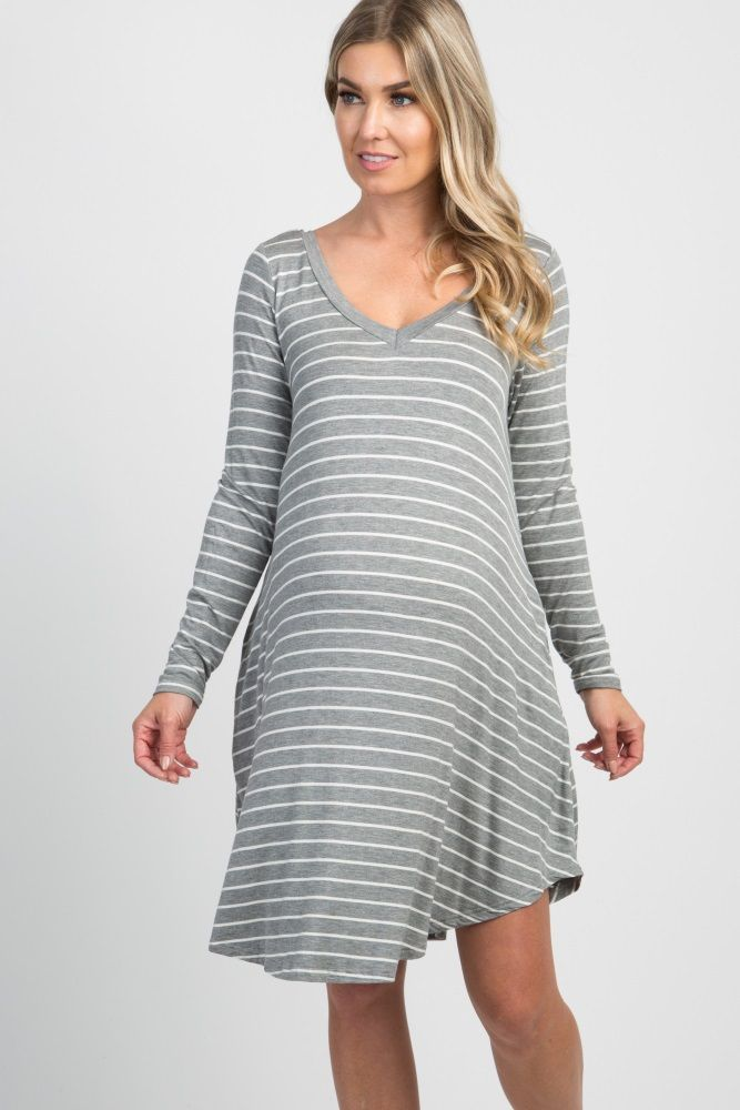 5ca8bec31424c Grey Striped Long Sleeve Pocket Maternity Dress | maternity | Long ...