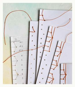 templates to practice and trial stitching of the edge of japanese bound books.