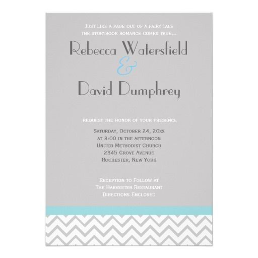 silver and blue modern chevron wedding invitation