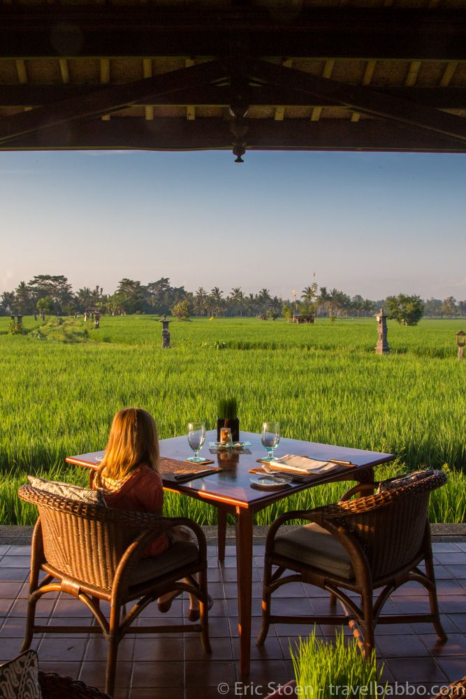 Breakfast with a view at the Chedi Club in Ubud, Bali
