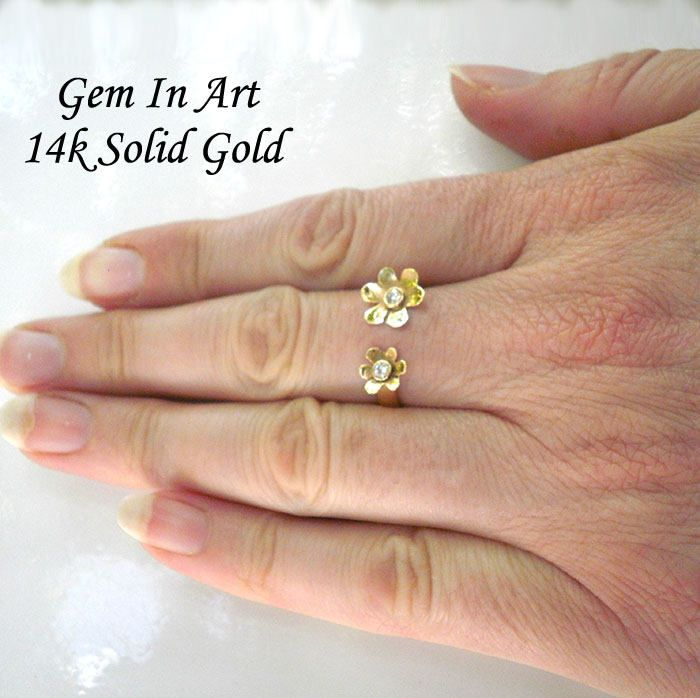 Daisy gold ringflower ringopen gold ringtwo flowers gold