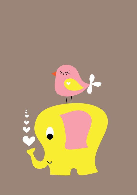Retro Poster voor op de kinderkamer olifant en vogel op Etsy, 4,95€