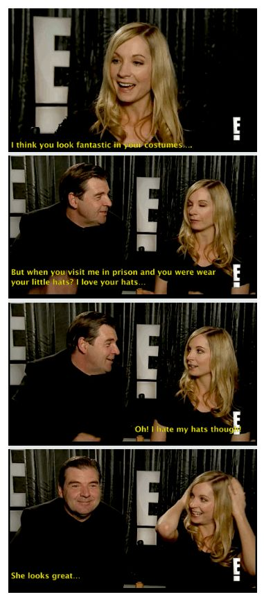Downton Abbey ..Joanne Froggatt and Brendan Coyle ..Did this like actually happen? He is being so sweet, and she is squirming from the attention. I LOVE IT..