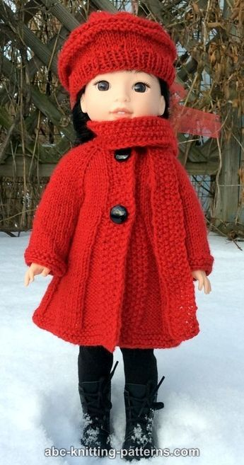 """ABC Knitting Patterns - Broadway Coat with Scarf Collar and Matching Beret (for 14"""" dolls)"""