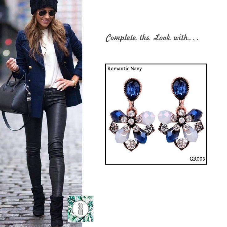 Ref: GR003 Romantic Navy Medidas: 2.9 cm x 1.8 cm So Oh: 5.99  #sooh_store #onlinestore #brincos #earrings #fashion #shoponline #inspiration #styleinspiration #aw2016 #aw1617 #winter #style
