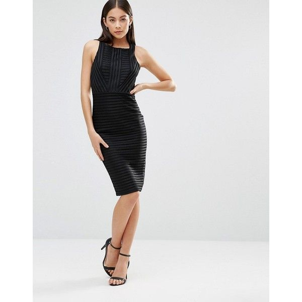 AX Paris Ladder Detail Scuba Bodycon Midi Dress ($38) ❤ liked on Polyvore featuring dresses, black, bodycon midi dress, stripe dresses, striped bodycon dress, midi dress and striped midi dress