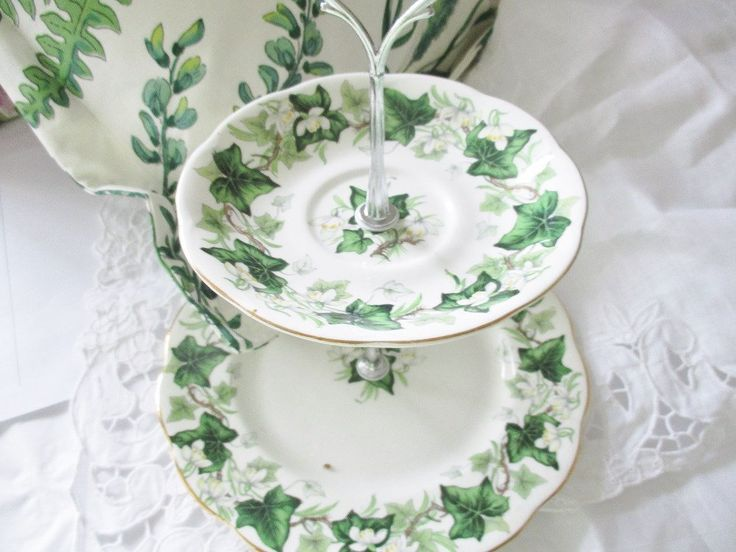 Custom cake stand by Royal Albert Ivy Lea pattern, 2 tier 1930s bone china plates make this lovely tea stand, plates in excellent condition by EnglishGardenTeaShop on Etsy