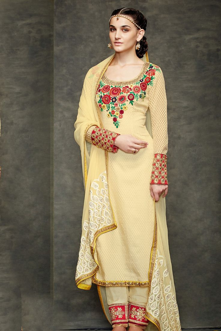 Light #creamish #yellow multicoloured #banarasi #jacquard #embroidered #kameez -SL3992 - #Salwars - What's #New #elegant #gorgeous #lavish #beautiful #stunning #attractive #striking #dazzling #lovely #exquisite #colourful #adorable #grand #splendid #dream #superb #ethnic