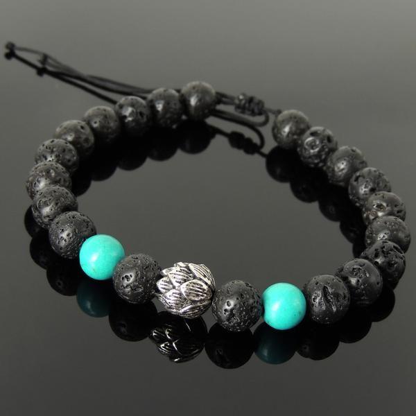 Braided Bracelet Blue Turquoise Sterling Silver Handmade Beads