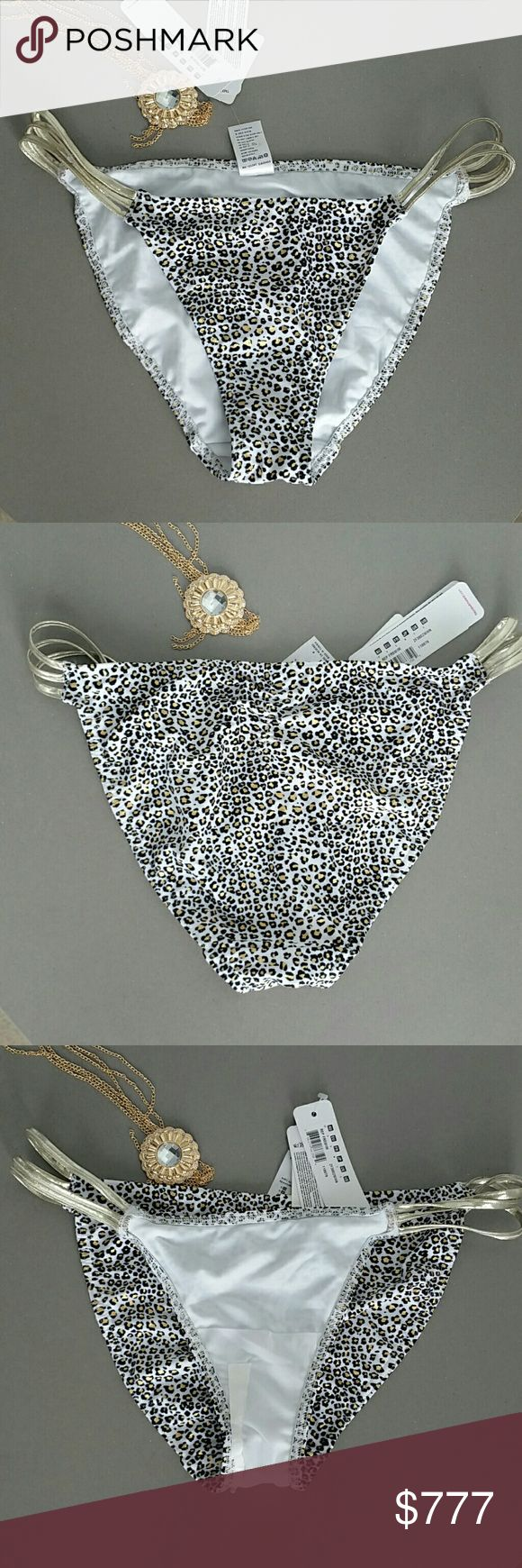 Wildside animal print bikini bottoms Brand new with tags   FREYA animal print bikini bottoms with metallic straps on sides. Colors are white gold and black.   Matching bikini top in 30G also available in my closet.  US size small (they run big in my opinion))   Vegas poolside beach party swimsuit swimwear bikini top poolside cruise vacation Freya Swim Bikinis