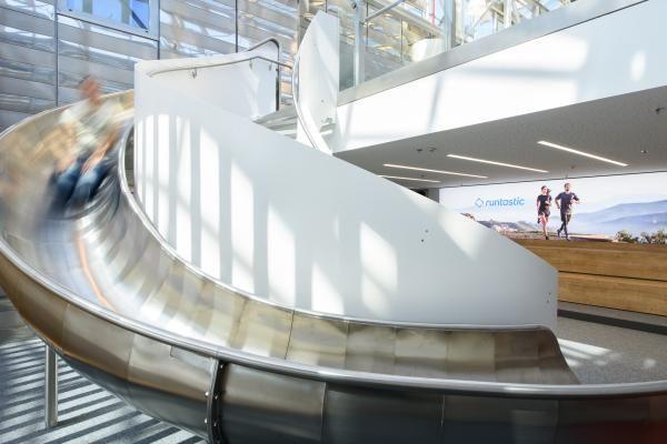 Runtastic Headquater, Austria - indoor sliding between 5th and 4th floor