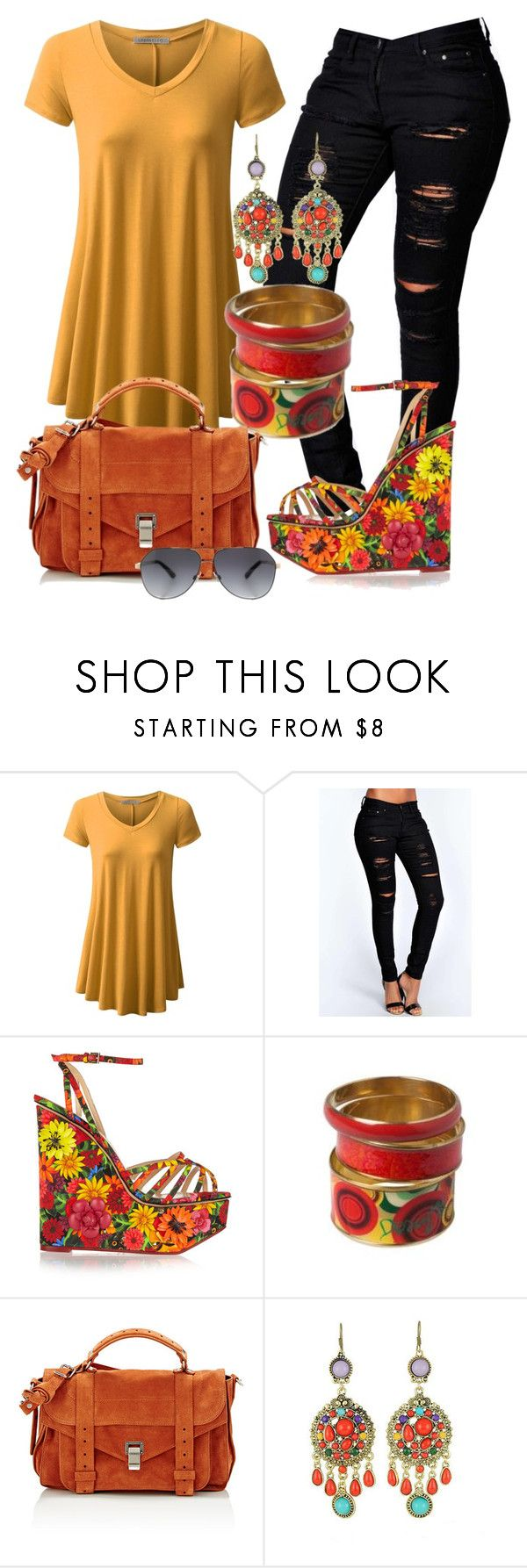 """""""Boémio"""" by alice-fortuna on Polyvore featuring Boohoo, Charlotte Olympia, Desigual, Proenza Schouler, WithChic and Dolce&Gabbana"""