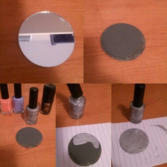 I really hate when my mini mirrors stick off and are so ugly in the back side, so when it happened I paint them with one (or more) nail polish. It's an easy idea but I appreciate these little things (^ω^)  #diy #easyideas #tumblr #cool #nailpolish #mirror