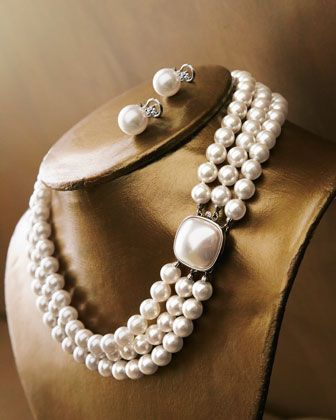 Three-Stand Pearl Necklace & Pearl-CZ Stud Earrings by Majorica at Neiman Marcus.