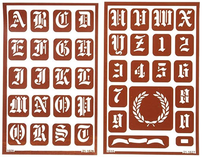 Armour Etch Over N Over Stencil 1 Inch High Alphabet 2 Pages Tutorial