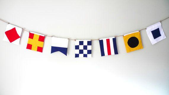 Nautical personalised bunting, maritime signal flags, boys room decor, nautical decor, themed wedding