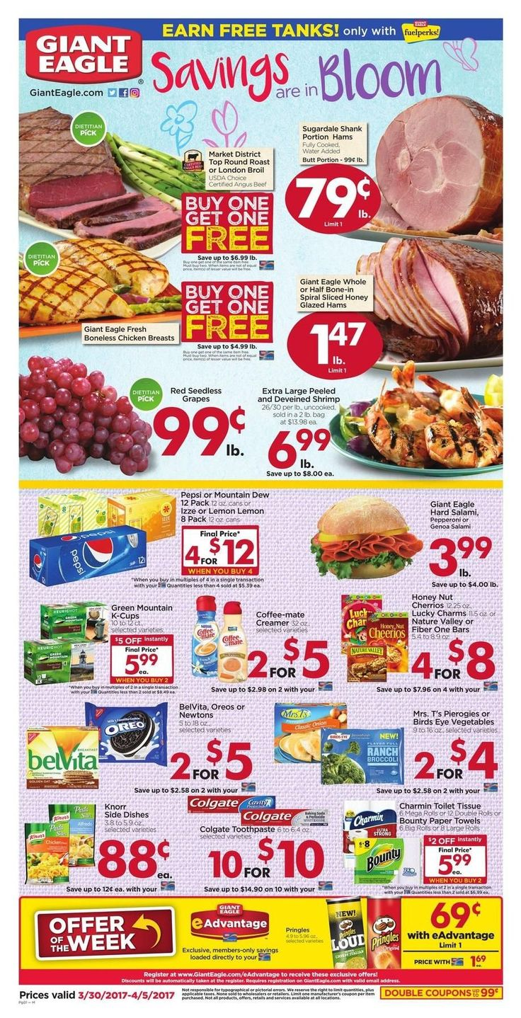 Giant Eagle Weekly Ad Circular March 30 - April 5 United States #grocery #food #GiantEagle